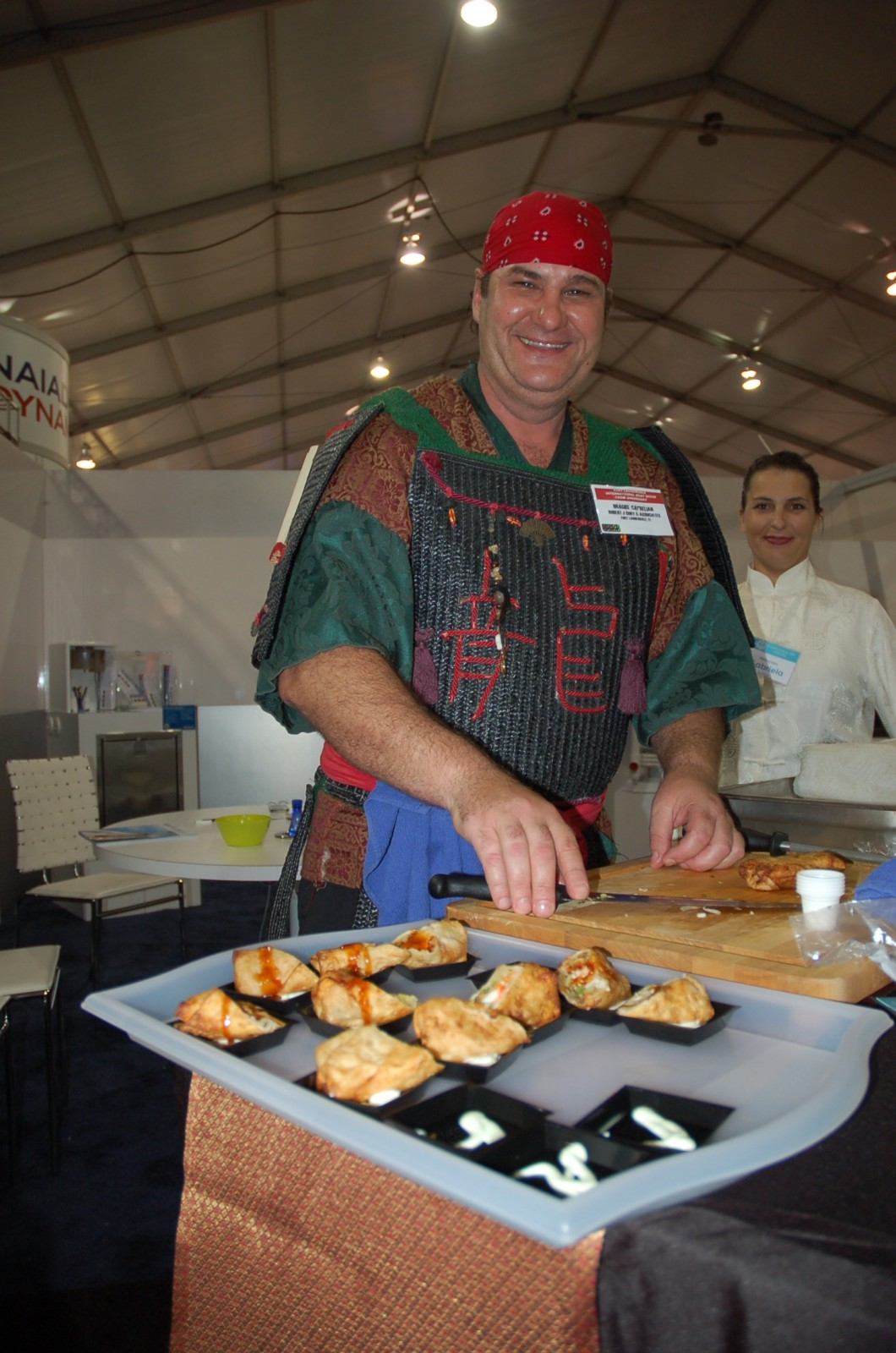 Chef Dragos Caprelian made king crab egg roll with spaghetti squash and sesame soy sweet-and-sour sauce.