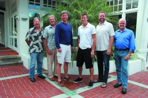 Captain attendees of The Triton's October From the Bridge luncheon were, from left, Mike Dailey (relief), Jeromy Mold (freelance/relief), James Van Pelt, Paul Clarke of M/Y Redemption, Steve Steinberg of M/Y Illiquid, and Rocky Miller of M/Y Viva Mas (relief). PHOTO/LUCY REED