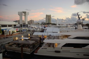 Yachts set up for Fort Lauderdale International Boat Show