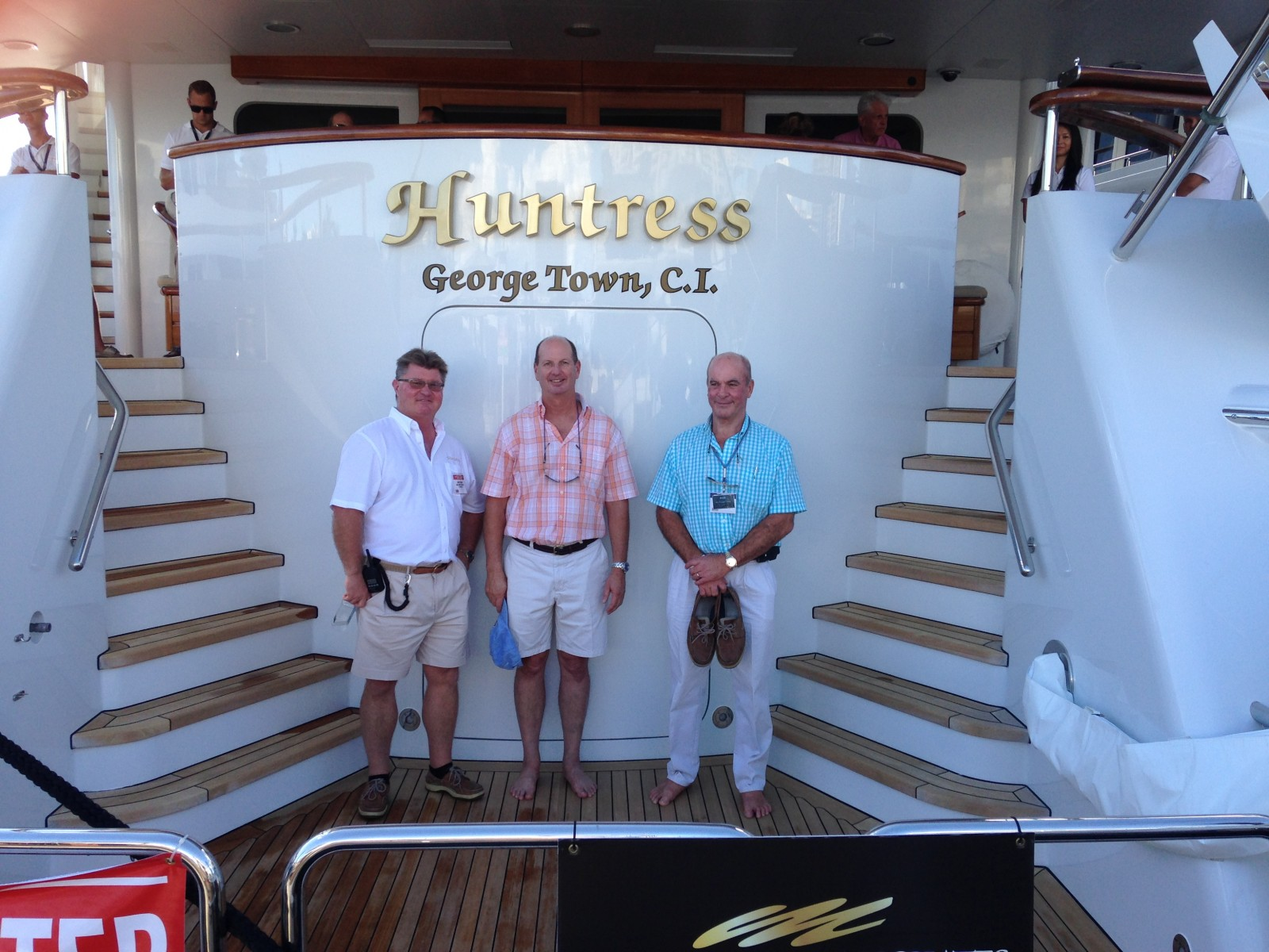 FLIBS brings people together. Captains Jeff Guymon, Paul Knox and Mark Howard represent 10 years of command of the 180-foot Feadship M/Y Huntress. PHOTO/PAUL KNOX