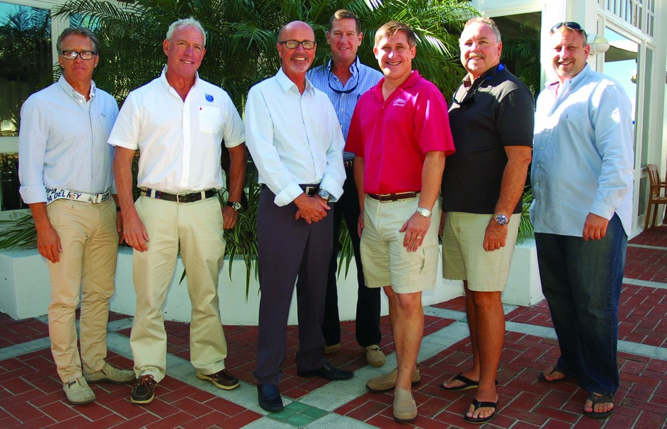 Attendees of The Triton's December Bridge luncheon were, from left, Ronald Gonsalves of M/Y Red Pearl, Christopher Walsh of M/Y Archimedes, Michael Mullen of M/Y Relentless, Paul Corgill of M/Y Arthur's Way, Vareek Breaden of M/Y Namoh, Mark Dixon of M/Y HIgh Cotton, and Phil Taylor (freelance). PHOTO/LUCY REED