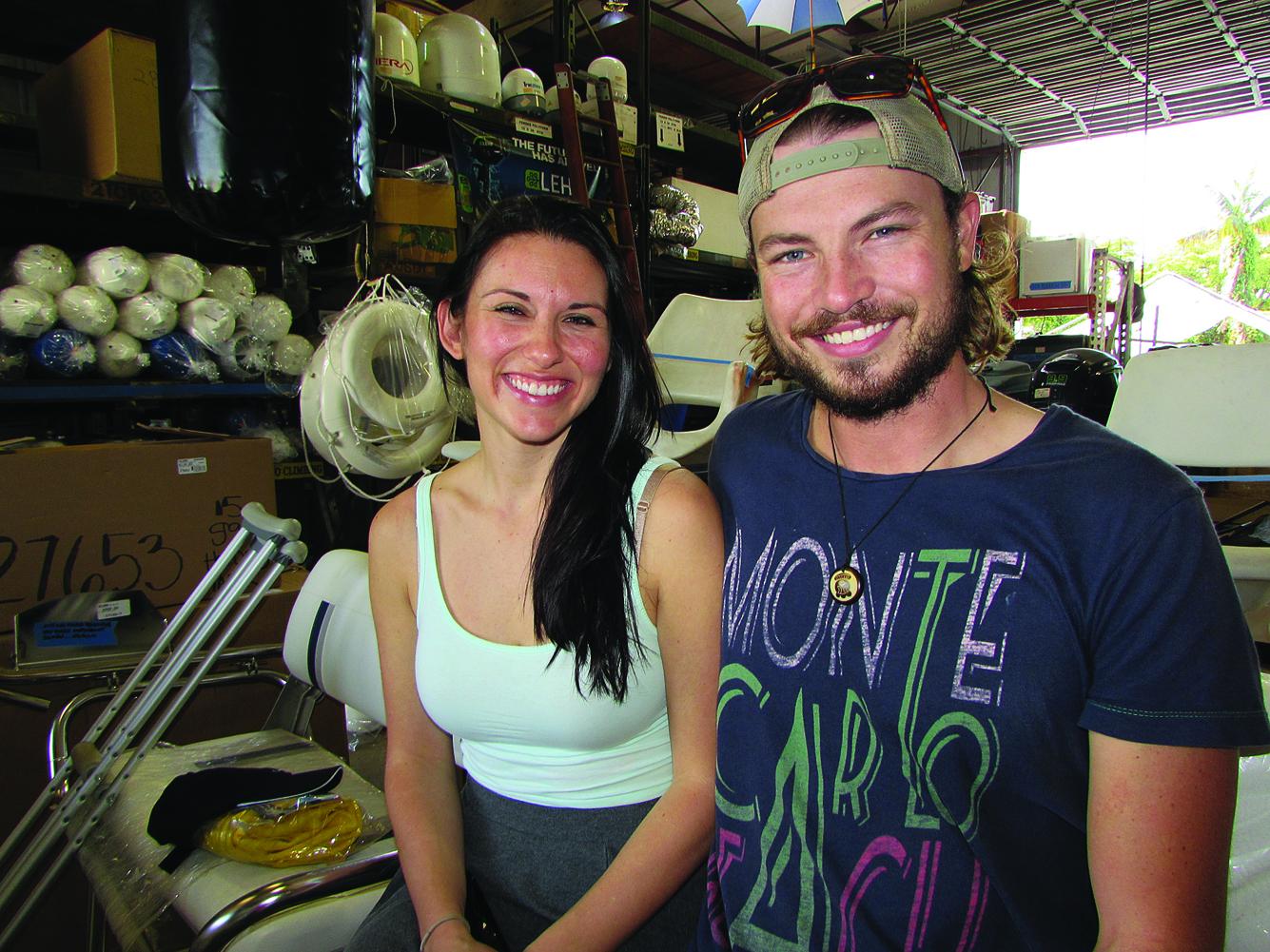 Stew Desiree Golen and Deckhand Jordan Wicht plan a circumnavigation on a 30-foot sailboat. PHOTO/DORIE COX