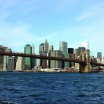 An iconic photo, this is the Brooklyn Bridge and lower Manhattan and the Freedom Tower (right).