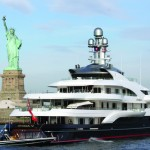 After 30 years of transiting thru New York Harbor, I am always moved by the view of Lady Liberty. M/Y Attessa IV anchored in the front row.