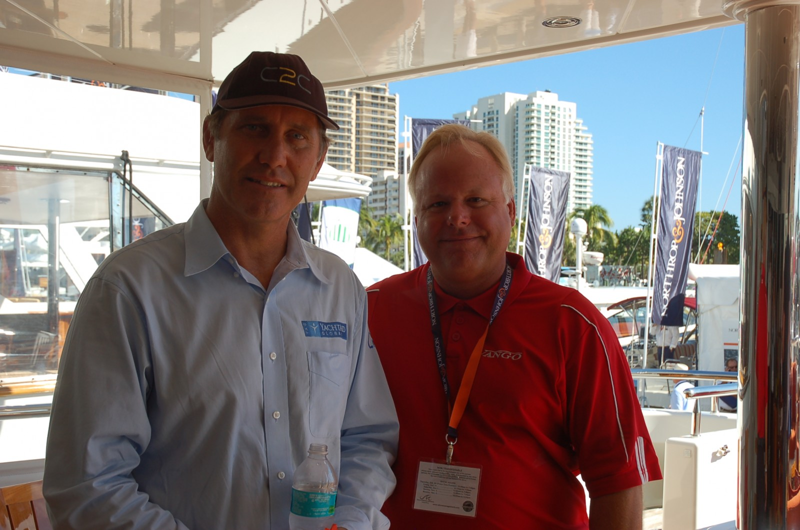 Capt. Mark Drewelow of YachtAid Global and Capt. Dave of M/Y Vango. 3771: Broker Eric Dahler of Camper & Nicholsons, YAG Events Advisor Dhardra Blake and YAG founder Capt. Mark Drewelow aboard M/Y Vango yesterday. PHOTOS/LUCY REED