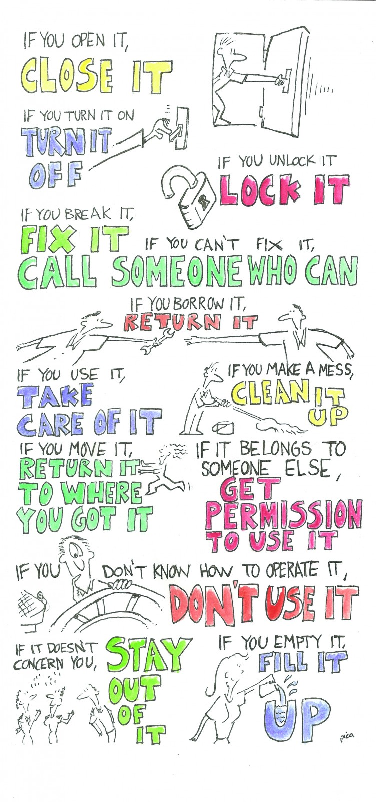 A captain shared these crew rules, illustrated by Steve Pica.