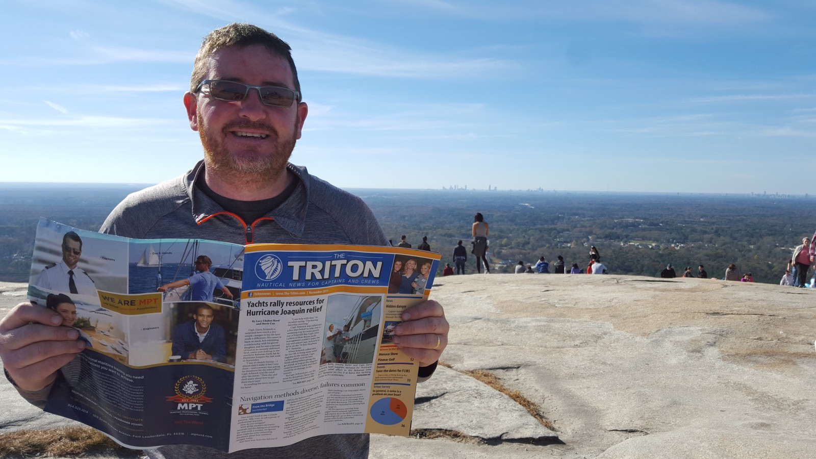Thomas McGowan, owner of Engineered Yacht Solutions, took his Triton on holiday with him to the top of Stone Mountain in Georgia. That's downtown Atlanta in the background. Engineered Yacht Solutions is based at Lauderdale Marine Center in Ft. Lauderdale and does metal fabrication, welding and plumbing.