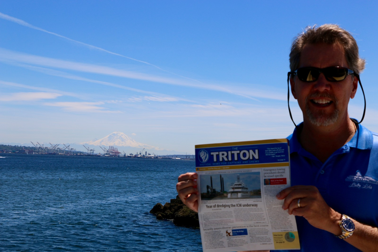 Capt. Mac McDonald of the 205-foot Oceanco M/Y Lady Lola takes his Triton to see the lovely Mt. Ranier off Seattle during a summer cruise exploring the Pacific Northwest and U.S. West Coast. Hope you have many more cloudless days, Mac.