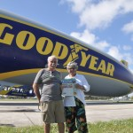 Triton patriarch and matriarch Stephen and Jan Reed took their new fancy Triton on the new fancy Goodyear blimp. Actually, Goodyear is replacing its three U.S. blimps (non-rigid airships) with three new semi-rigid airships. This ship is the Wingfoot One, the first such model in Goodyear's U.S. fleet. The only way to ride in one it to win the privilege in a charity auction.
