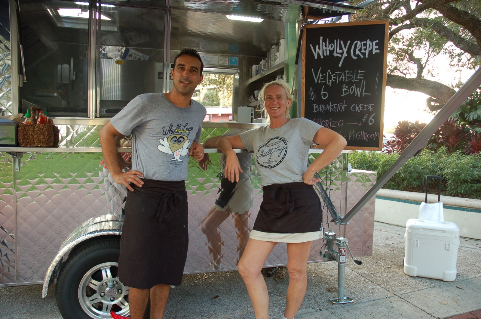 Former yachties Terence Booth and Jane Ormerod bring their skills as chefs to Booth's new food truck, Wholly Crepe. Photo by Lucy Reed
