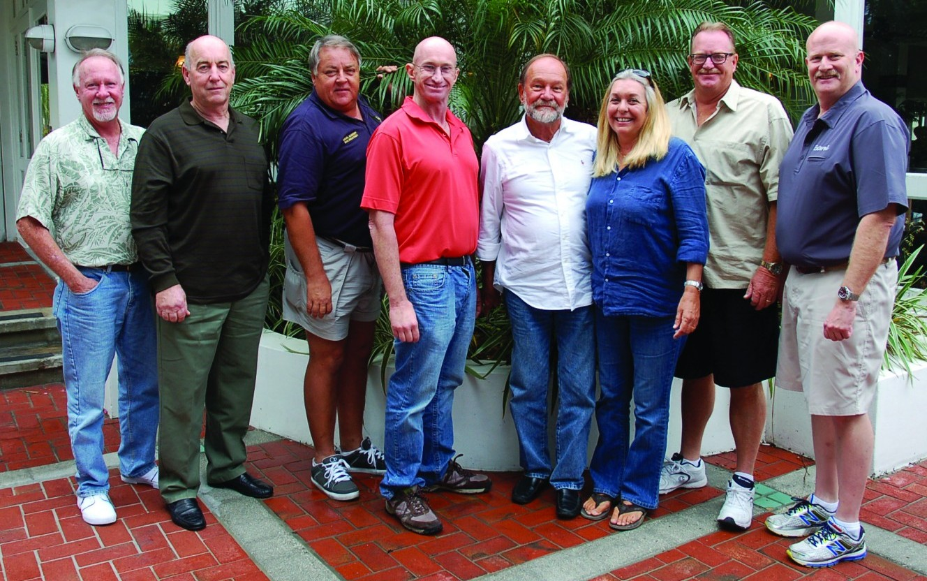 Attendees of The Triton's March Bridge luncheon were, from left, Michael Murphy (freelance), Conor Craig (freelance), John Wampler (contract captain), Les Annan (engineer on M/V Jack Edwards), Steve King (freelance), Julie King (freelance), Dan Morrison (freelance), and John Tucker of M/Y Esterel. PHOTO/LUCY REED