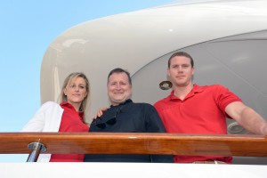 Crew on the job Sunday at Miami Yacht and Brokerage Show