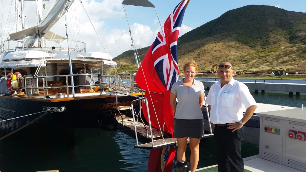 """Aeneas """"Nee"""" Hollins (right), former captain of the 46m Perini S/Y Andromeda, opens Christophe Harbour in St. Kitts this weekend. PHOTO/SCOTT FRATCHER"""