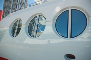 Recognizable windows on 122-foot M/Y Never Say Never, a 30-year-old Oceanfast. Photo by Lucy Reed