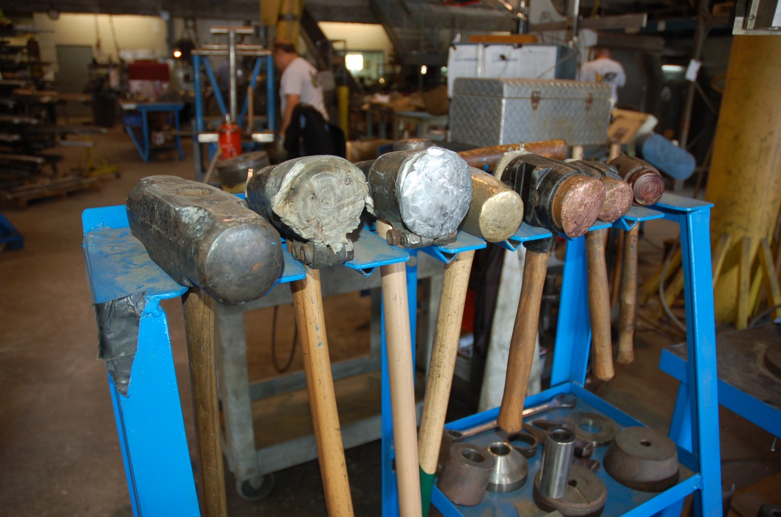 Sledgehammers with a variety of covers, including rawhide, copper and aluminum are used to repair props. PHOTOS BY DORIE COX