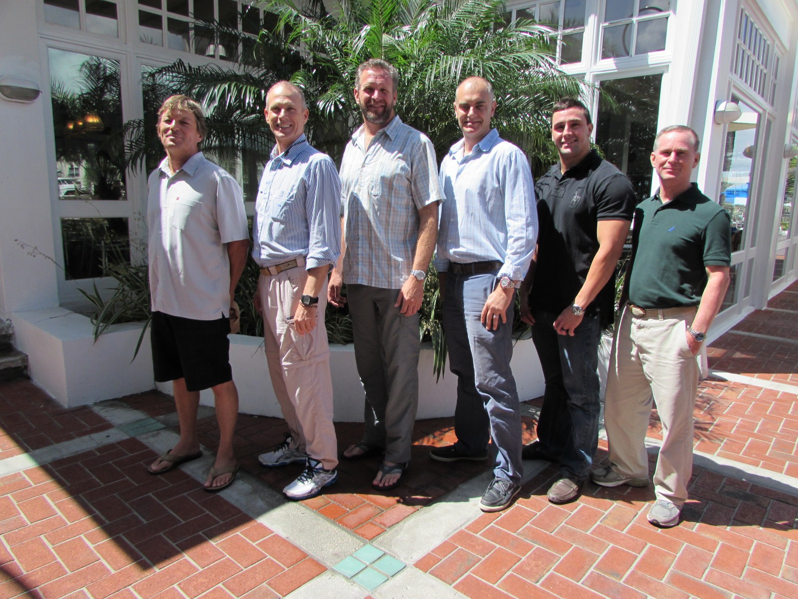 Attendees of The Triton's April Bridge luncheon were, from left, Adam Lambert of S/Y Mitseaah, Ned Stone (freelance), Steve Steinberg of M/Y Illiquid, David Cherington of M/Y Meamina, Daniel Weaver, and Stephen Pepe of M/Y Dreams. PHOTO/LUCY REED