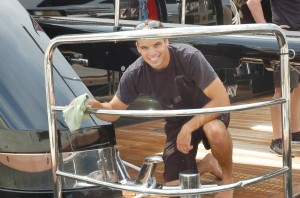 Crew prep for Palm Beach International Boat Show
