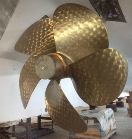 Out-of-the box propellers installed on a 43m new build in Europe recently. PHOTO PROVIDED