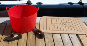 red bucket - yacht mat - shoes