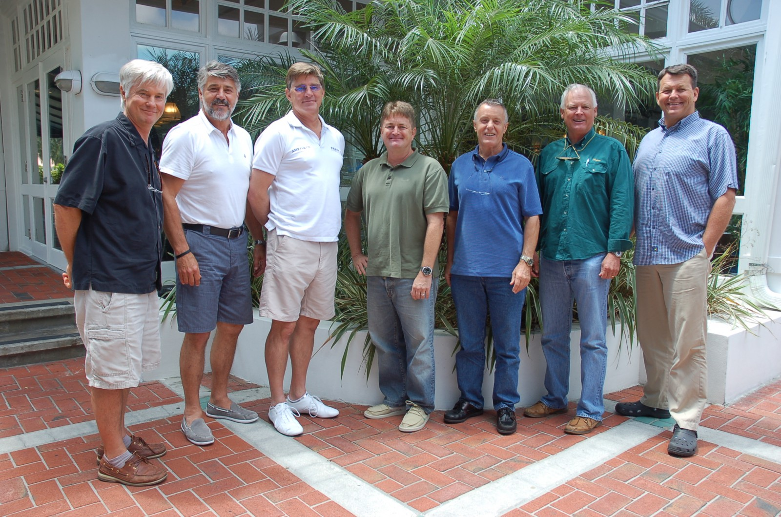 Attendees of The Triton's May Bridge luncheon were, from left, Robb Shannon of M/Y My Maggie, Andre Peens of M/Y Lazy Z, John Fleckenstein of M/Y Apogee, Patrick Allman (freelance), Robert Peel (freelance), Guy O'Connor of Fleet Relief, and Herb Magney of M/V Miss Aline. PHOTO/LUCY REED