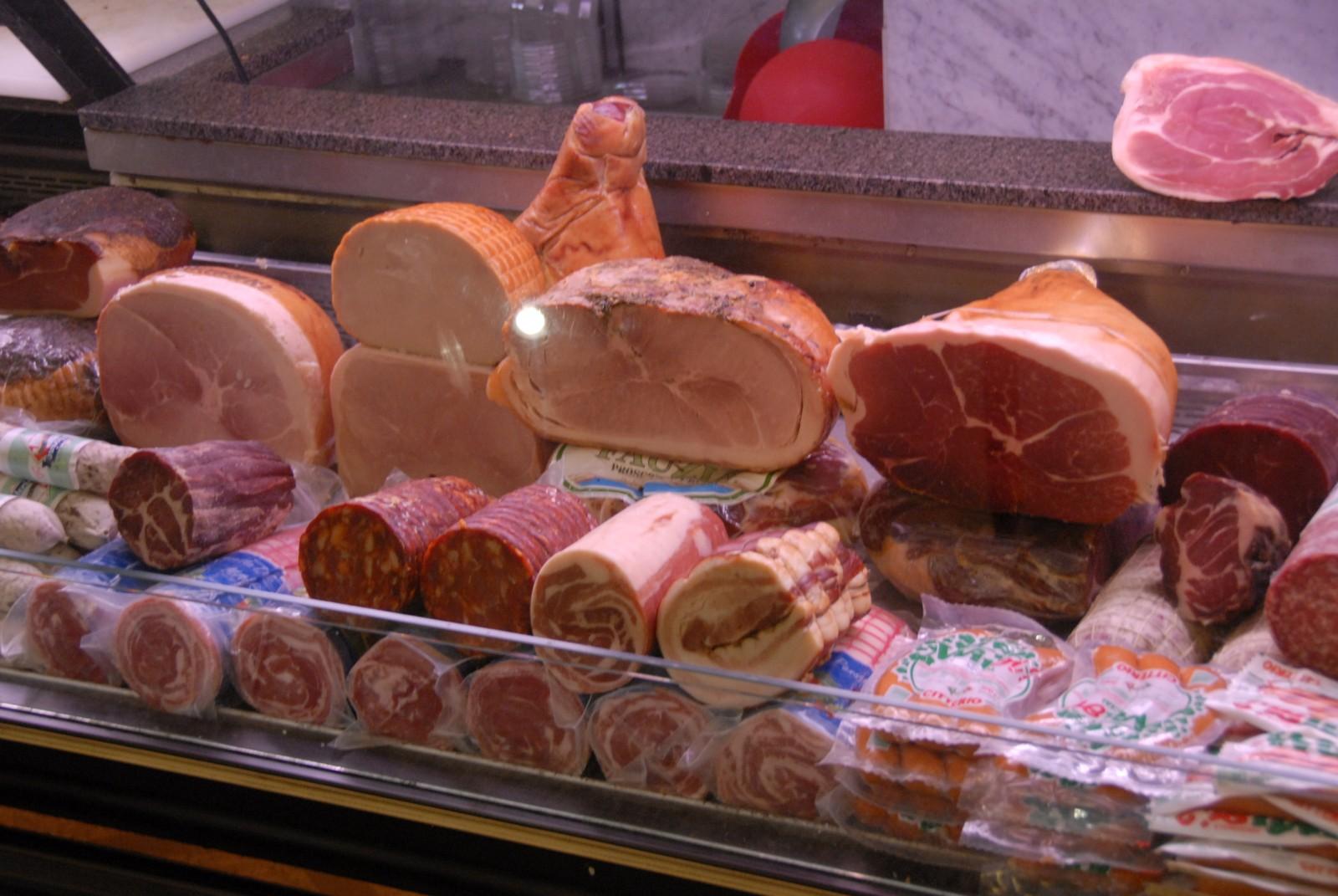 Protein-rich Italian meats in a mouth-watering deli off the Campo de' Fiori open air market in Rome. PHOTO/DEAN BARNES