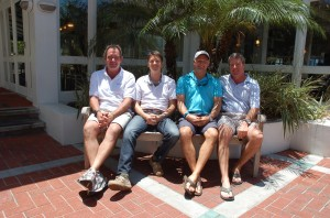 Attendees of The Triton's June Bridge luncheon were, from left, Greg Russell of M/Y Bella Vita, James Fiske of a 57m Feadship, Dave Ober of M/Y Next Chapter, and Randy Steegstra of M/Y Tsalta. PHOTO/LUCY REED