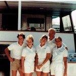 Yacht crew from M/Y Netanya II, from left, are Engineer David Taylor, Stew Joanna Flannery (Boo), Chef Stephanie Walters, Capt. Dick Betts, and 1st mate Kat Banco. PHOTO FROM NANCY JOHNSON