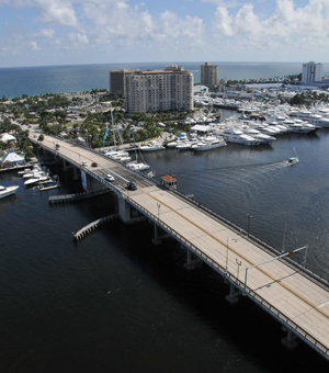 art bridge river ocean from heli