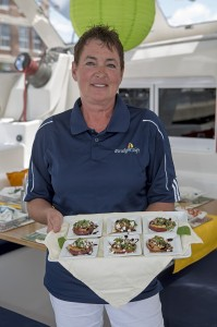 Paradigm Shift's Chef Bonnie Carroll at 34th Newport Charter Show. Photo by Billy Black