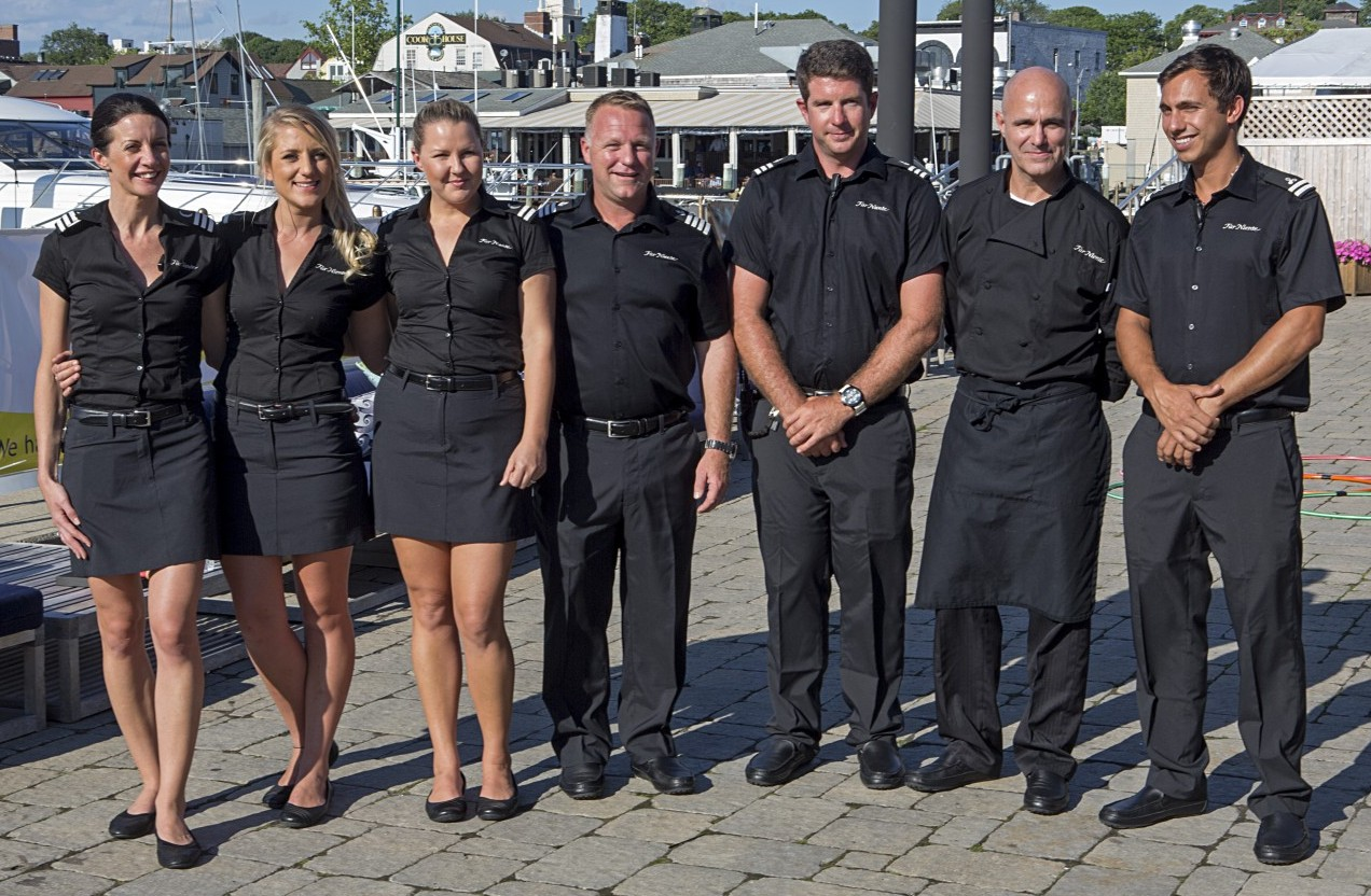 Crew of the 130-foot M/Y Far Niente at the 34th Newport Charter Show. Photo by Billy Black