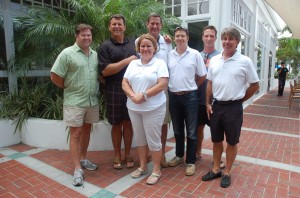 Attendees of The Triton's July Bridge luncheon were, from left, Keith Talasek, Herb Magney of M/Y Island Heiress, Veronica Hast of M/Y SoTaj, Paul Corgill of M/Y Mac Attack, James Fiske of a 51m Feadship, Shane Mace of M/Y Crescendo, and Greg Quackenbush of M/Y Moondance. PHOTO/LUCY REED