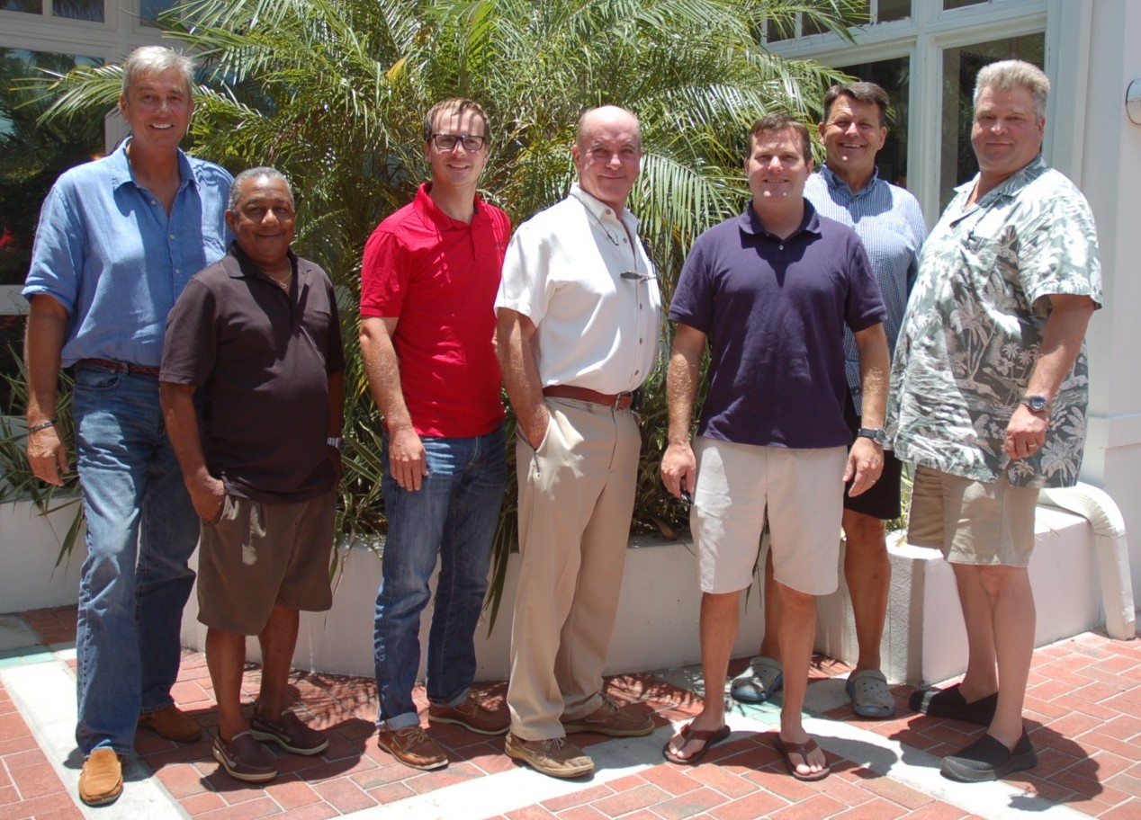 Attendees of The Triton's August Bridge luncheon were, from left, Bernard Calot (freelance), Michael Bain of M/Y Huey's Island, Caleb Semtner of M/Y Brio, Mark Howard, Ian Stuart of M/Y Nine Stars, Herb Magney of M/Y Island Heiress and Scott Redlhammer (freelance). PHOTO/LUCY REED