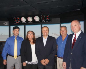 From left, MPT faculty coordinator Capt. Jeff Perlstein, MPT academic principal Amy Morley-Beavers, Capt. Roberto Beretta, simulation training manager Capt. Scott Field, and Capt. John Hafner, vice president of seafarers' manning and training with IRI.