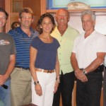 "Attendees of The Triton's September From the Bridge luncheon were, from left, Andrew ""Hutch"" Hutchins of M/Y Misunderstood, Andy Brennan, Wendy Umla of M/Y Roamin' Holiday, Gianni Brill (freelance), Bob Terrell of M/Y Sun Ark and Michael Mullen of M/Y Relentless. PHOTO/LUCY REED"