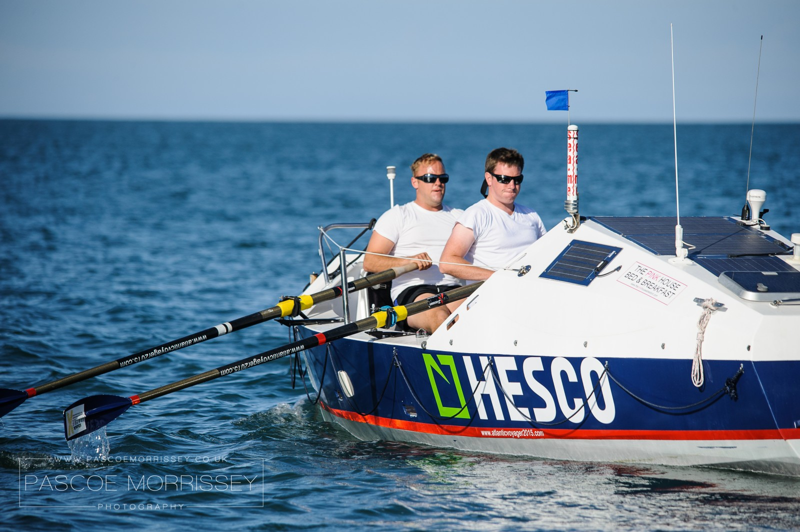 Chadwick and Jones practice for a 3,000-mile rowing race across the Atlantic in their 7m plywood rowboat. PHOTO/WWW.PASCOEMORRISSEY.CO.UK