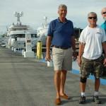 Capt. Calot Bernard, yard foreman Cali Borges, and yard manager Bill Dalton at Universal Marine Center.