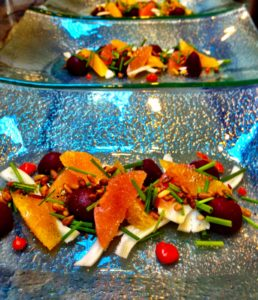 Roasted beet, marinated chanterelles and citrus salad