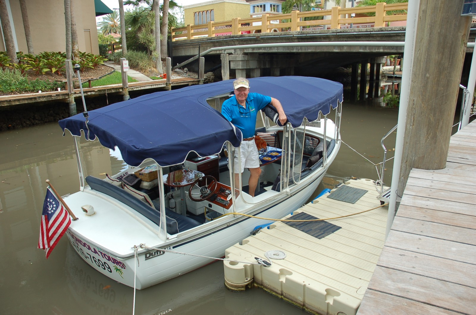Former yacht Capt. Roy Conklin works at much slower speed than during his racing and yachting careers. He now runs Riverfront Gondola Tours in Ft. Lauderdale.