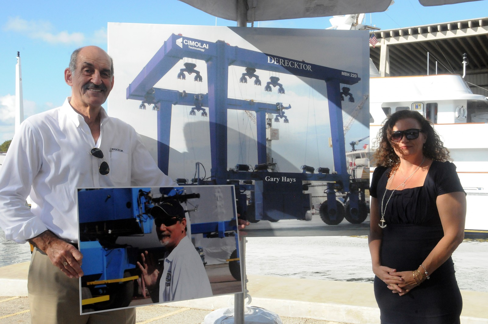 Derecktor Florida named the company's new 200-ton lift in memory of Gary Hays. James Brewer of Derecktor made the dedication announcement this morning at a marine industry appreciation breakfast. Lenora Monteleone-Hays received the honor in memory of her husband. PHOTO/SUZETTE COOK