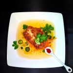 Coconut-Crusted Grouper Tail in a Chili-Lemongrass Broth with Papaya Noodles. P