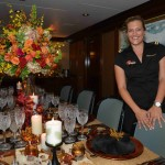M/Y Gravitas – Siobahn Manton – 3rd Stew – Siobahn incorporates a fall theme, with leaves and acorns on the tables, candle light and a centerpiece of fresh flowers with fall colors and gold, orange and black place settings.