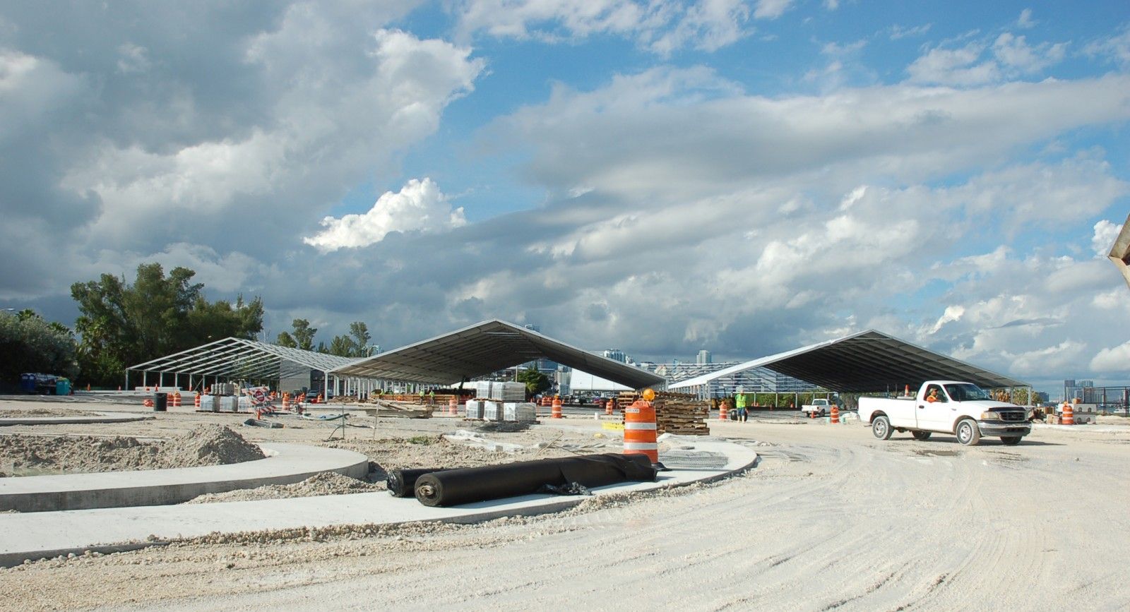 Workers are on site at the Miami Marine Stadium Park for the Miami International Boat Show on Key Biscayne. PHOTO/DORIE COX