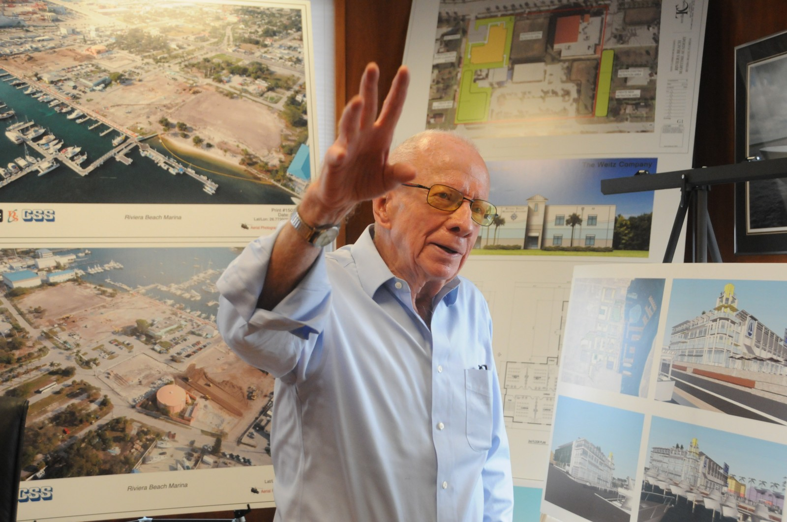 Viking chairman Robert T. Healey, Sr. outlines his company's plan for redevelopment in Riviera Beach. Photo by Suzette Cook.