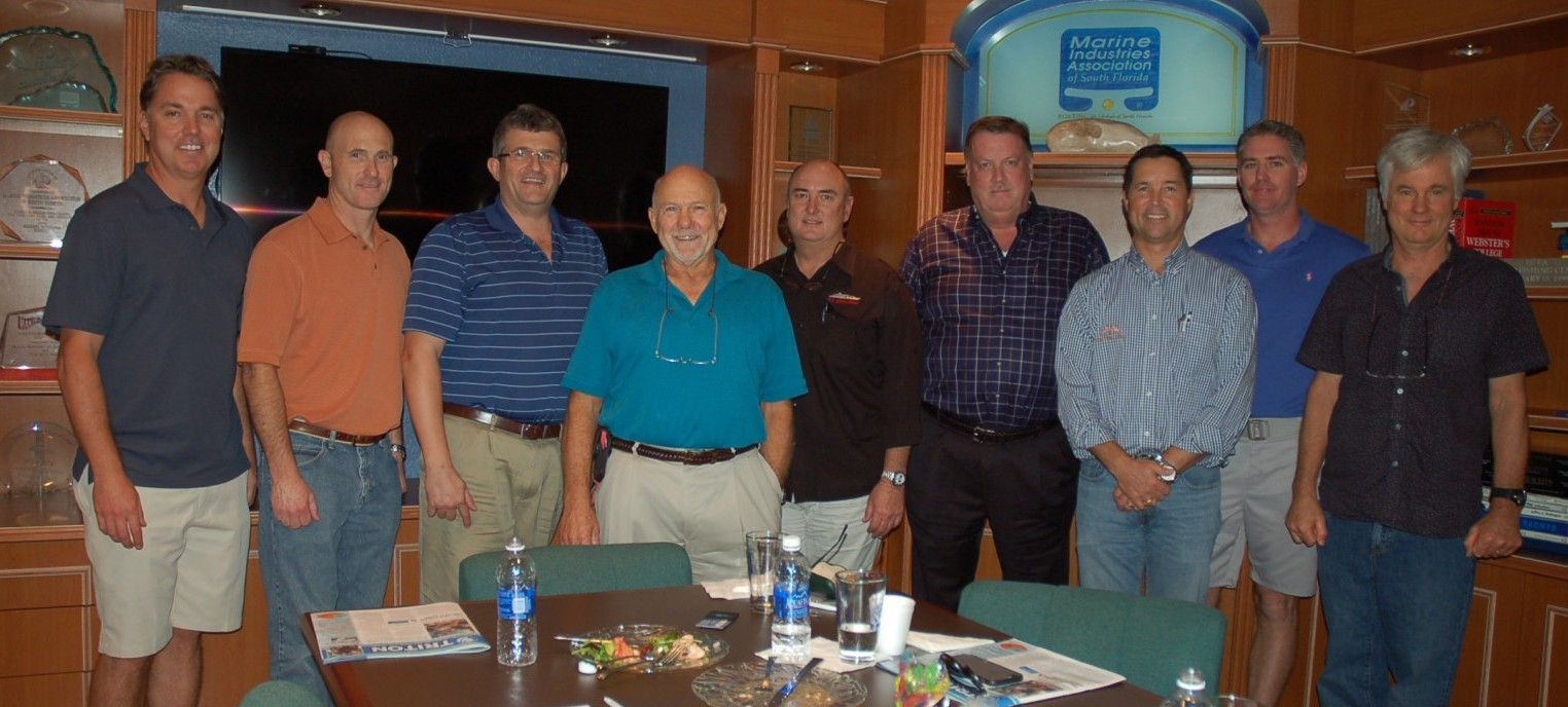 Attendees of The Triton's January From the Bridge luncheon were, from left, Martin Secot of M/Y 4 Tranquility, Chris McKenna of M/Y One More Toy, Andrew Brennan, Paul Preston of M/Y Paradise, Brent Holleman of M/Y Cedar Island, Matthew Inglis of M/Y Ada, Charles DuGas-Standish of M/Y Natita, Scott Gaffga of M/Y Serenity, and Robb Shannon of M/Y My Maggie. PHOTO/LUCY REED