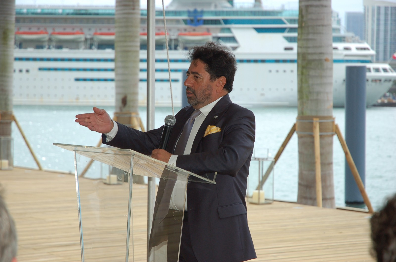 Island Gardens' developer Mehmet Bayraktar, chairman/CEO, Flagstone Property Group speaks at the official opening of Deep Harbour. PHOTO DORIE COX