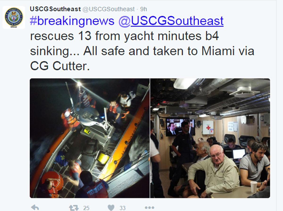 Serena III passengers safe on board the USCG vessel. Photo courtesy of USCG