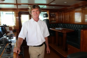 Capt. Pablo Benjumeda took the helm of the M/Y Steel in October 2015. The icebreaker is on display to potential buyers and brokers at Deep Harbour at Island Gardens in Miami through Feb. 15. The yacht has a classic interior featuring crafted Cuban mahogany wood and can circumnavigate the globe on three fuel stops. PHOTO BY SUZETTE COOK
