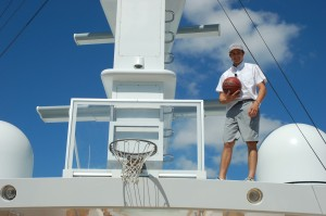 Yacht crew at work on day three at Yachts Miami Beach