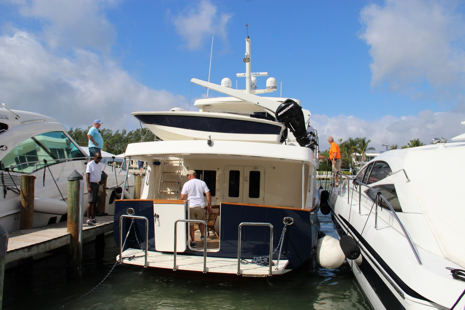 Yachts continue to file in at the docks in at Yachts Miami Boat Show on Feb. 4.