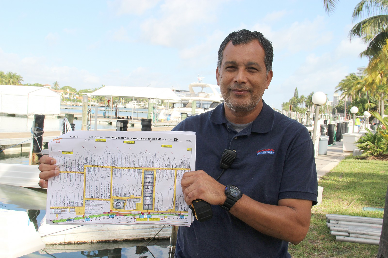 David Paternina maps out the docks and details for Show Management boat shows including Yacht Miami Beach boat. Photo by Suzette Cook